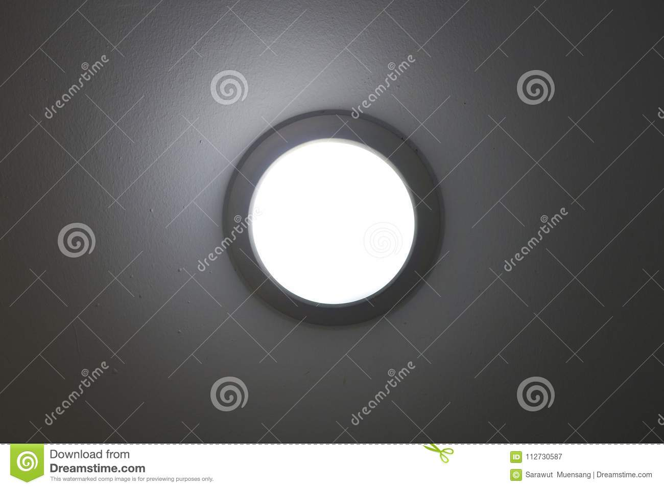 Pot Light Recessed Lighting In Ceiling Tile Stock Image