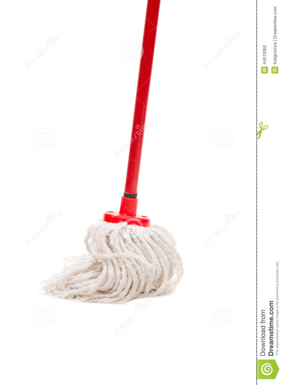 closeup of red mop for cleaning  stock photo