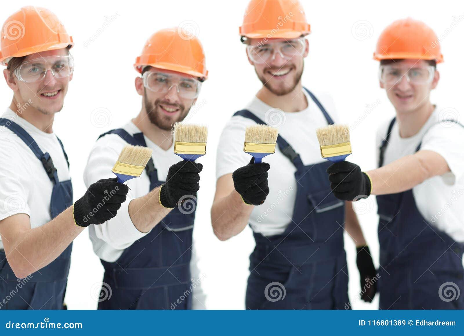 Closeup ritratto del gruppo dei muratori