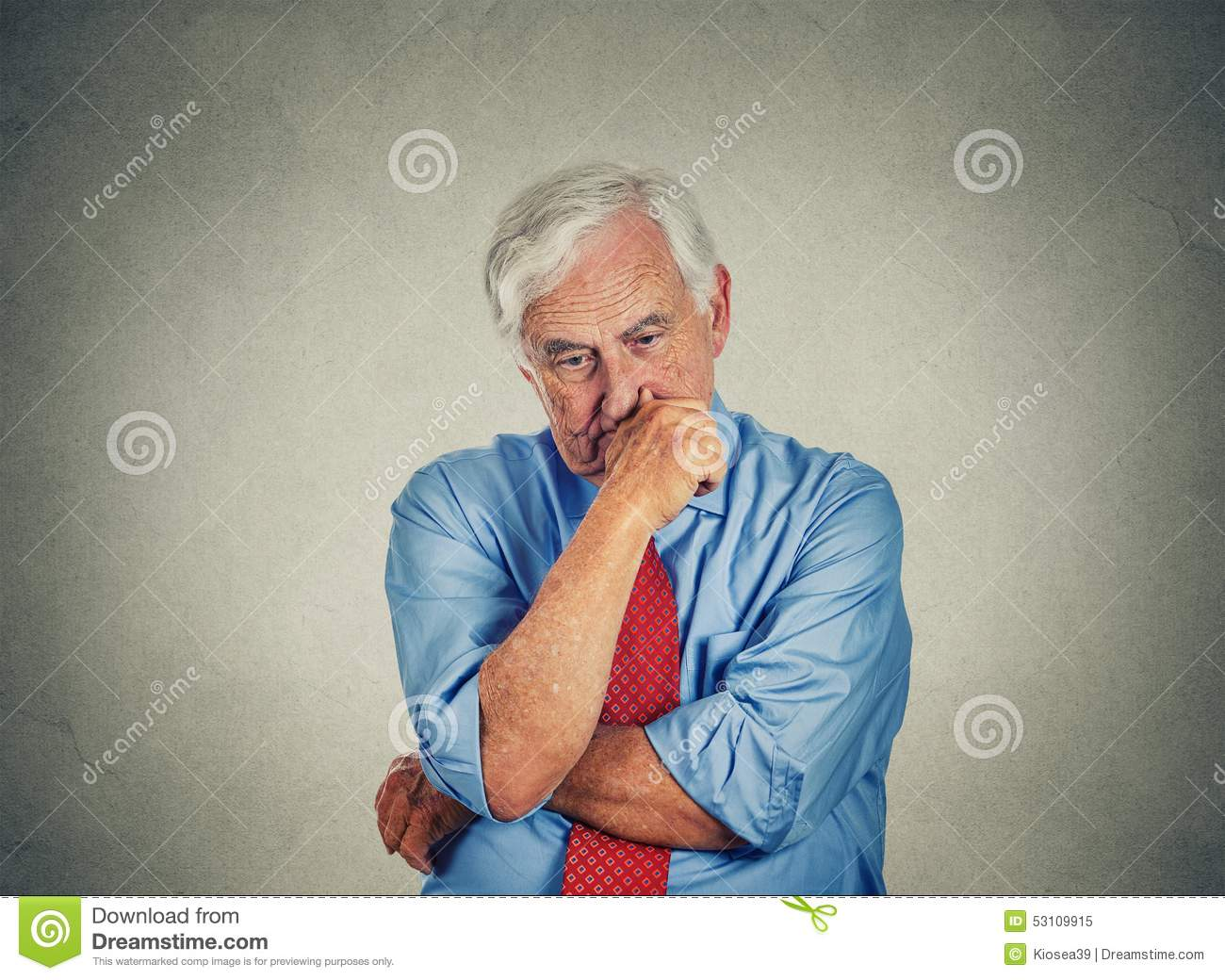 Closeup Sad Worried Senior Business Man Stock Photo ...