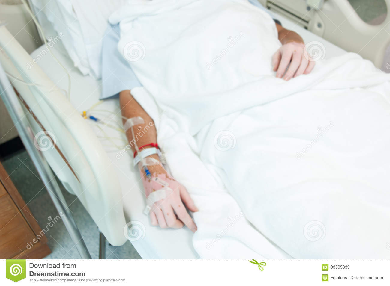 Closeup of saline drip-Patient admit in hospital with iv saline