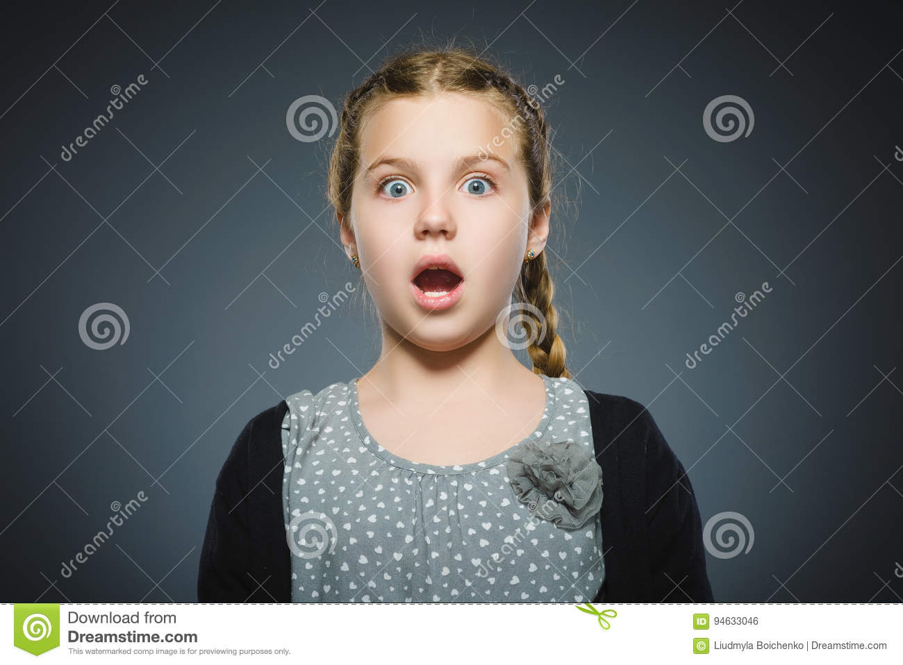 Closeup Scared and shocked little girl. Human emotion face expression