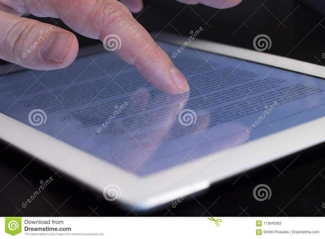 Magnificent Closeup Scrolling Finger Touching Tablet Stock Photo Image Download Free Architecture Designs Rallybritishbridgeorg