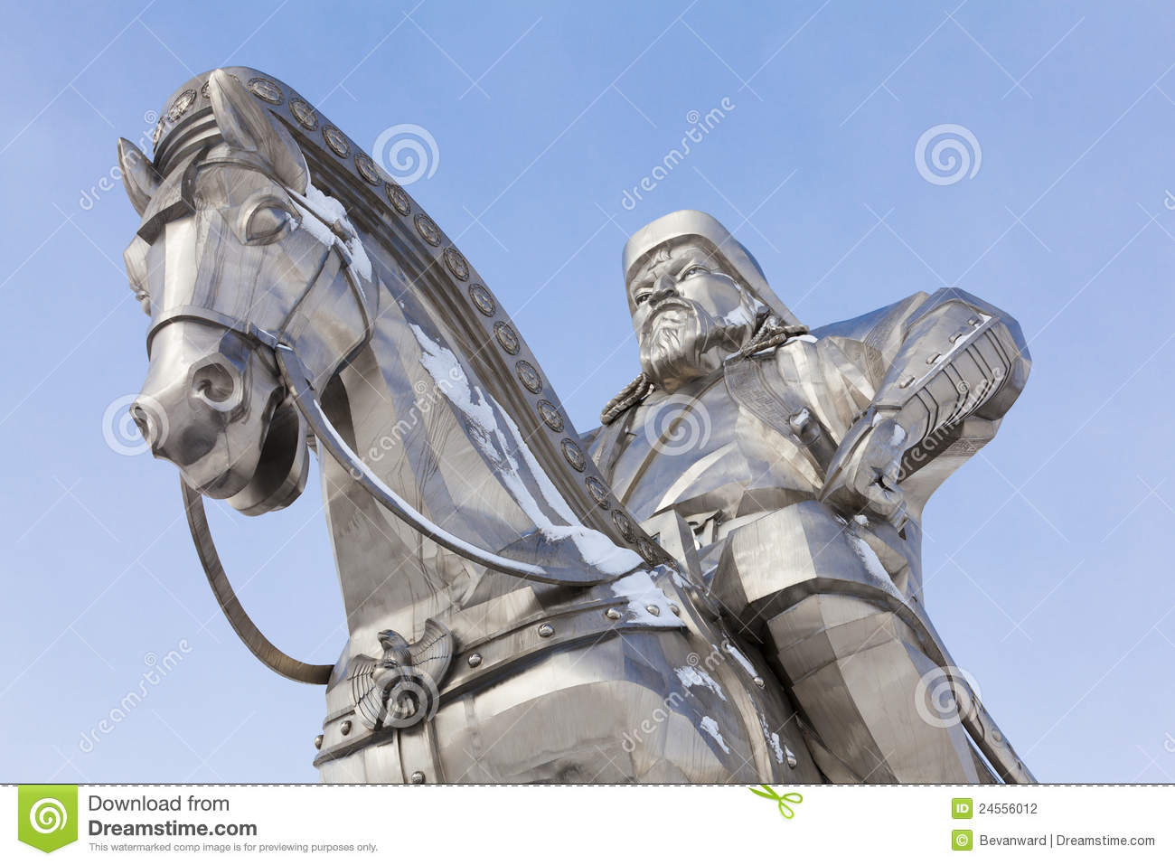 Closeup of sculpture of Genghis Khan and horse