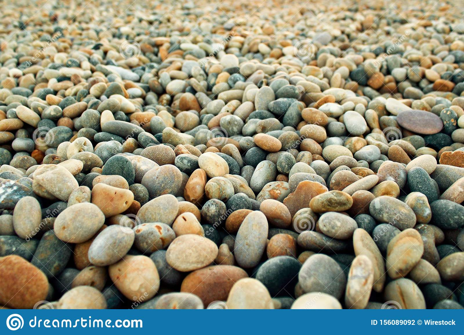 Closeup Selective Focus Shot Of Round Small Pebbles At The