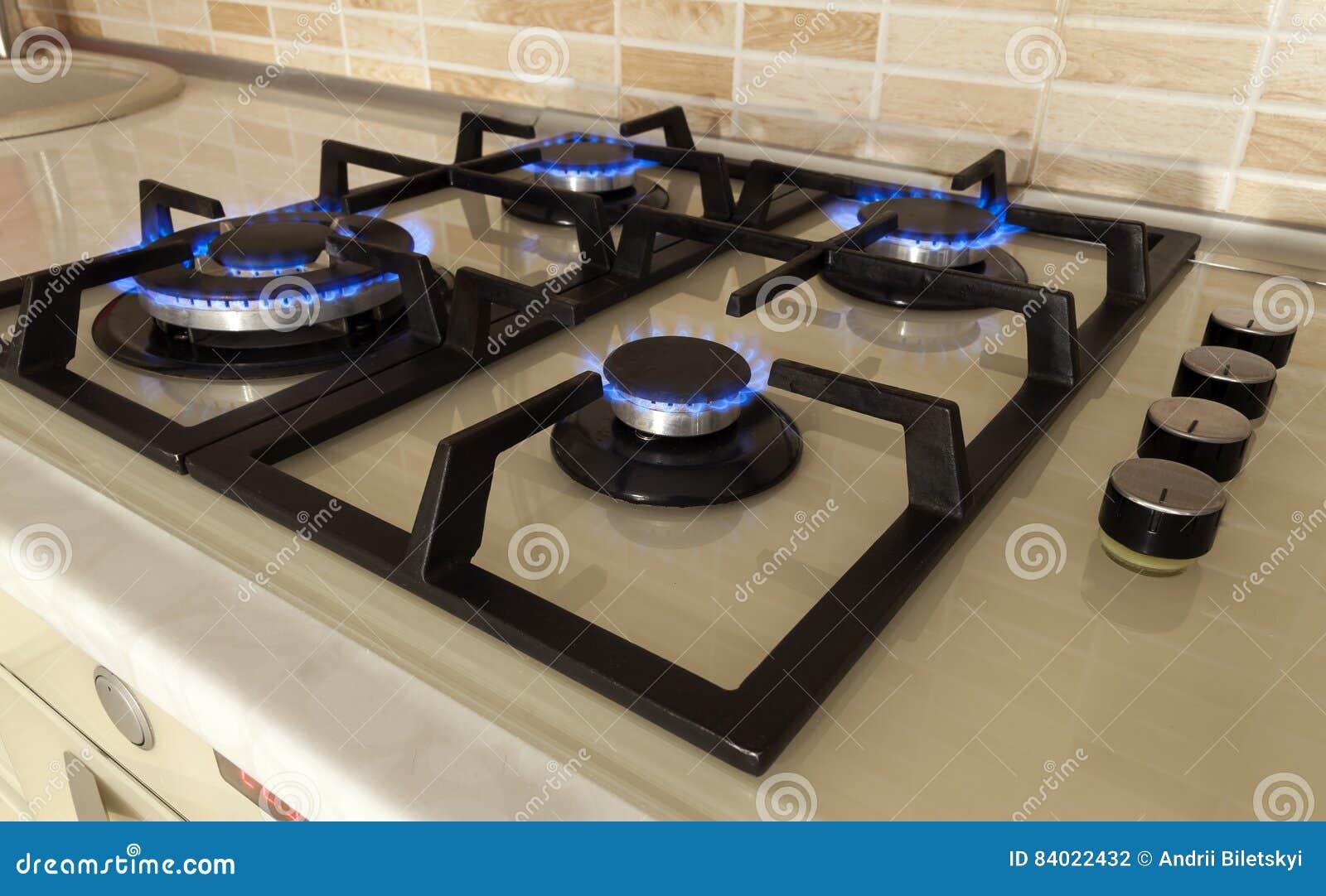 Kitchen Hob Cartoon ~ Methane flames at kitchen cooker royalty free stock photo