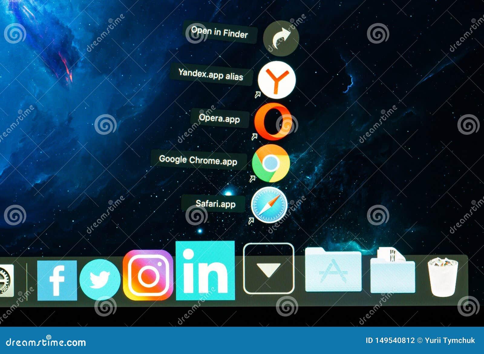 Closeup Shot Of Browsers Icons: Safari, Google Chrome, Opera