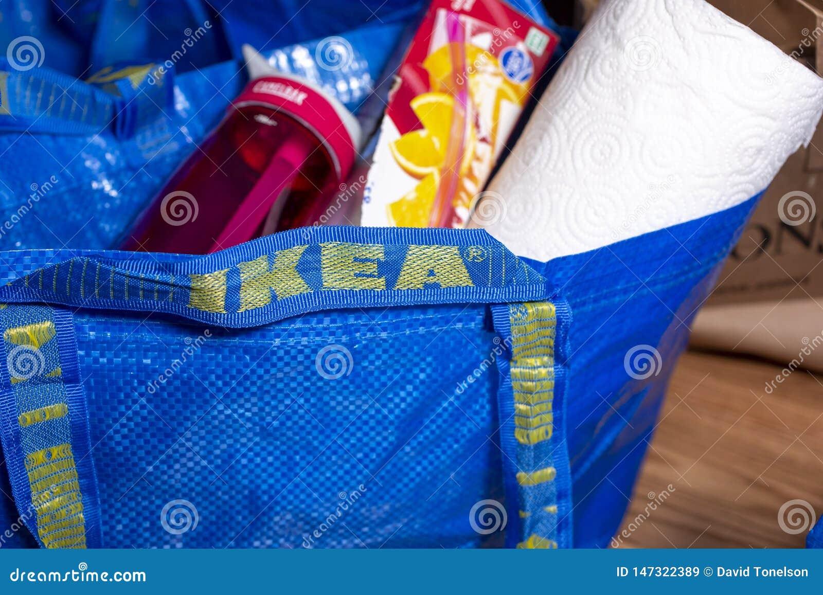 An Ikea blue bag with stuff