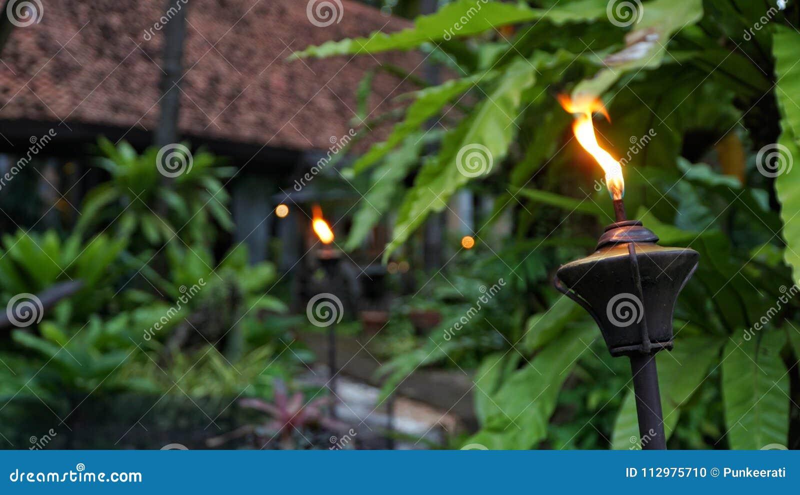 Closeup shot of Lamppost,Lantern with garden background