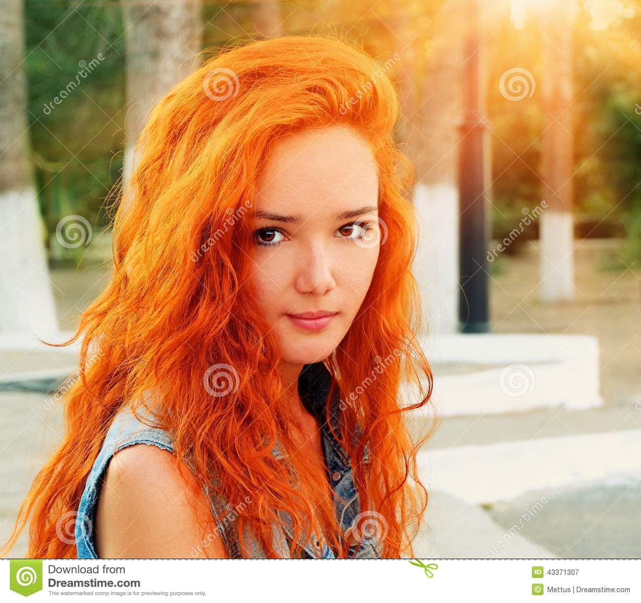 Closeup Shot Of A Pretty Red Haired Women In Calm State Stock Photo ...