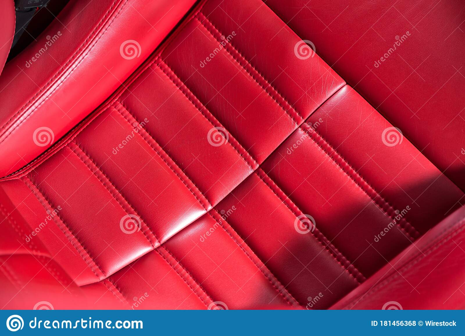 Closeup Shot Of Red Leather Seat Details In A Modern Luxury Car Stock Photo Image Of Drive Leather 181456368