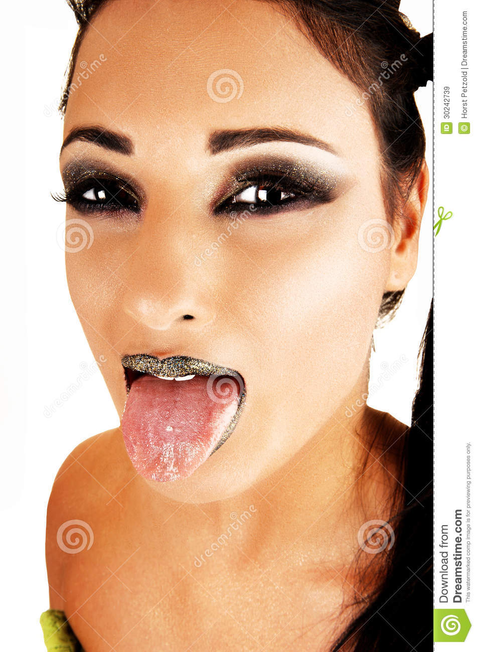 tongue on lips girl