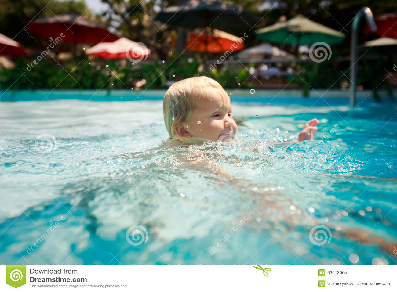 Blonde girl swimming