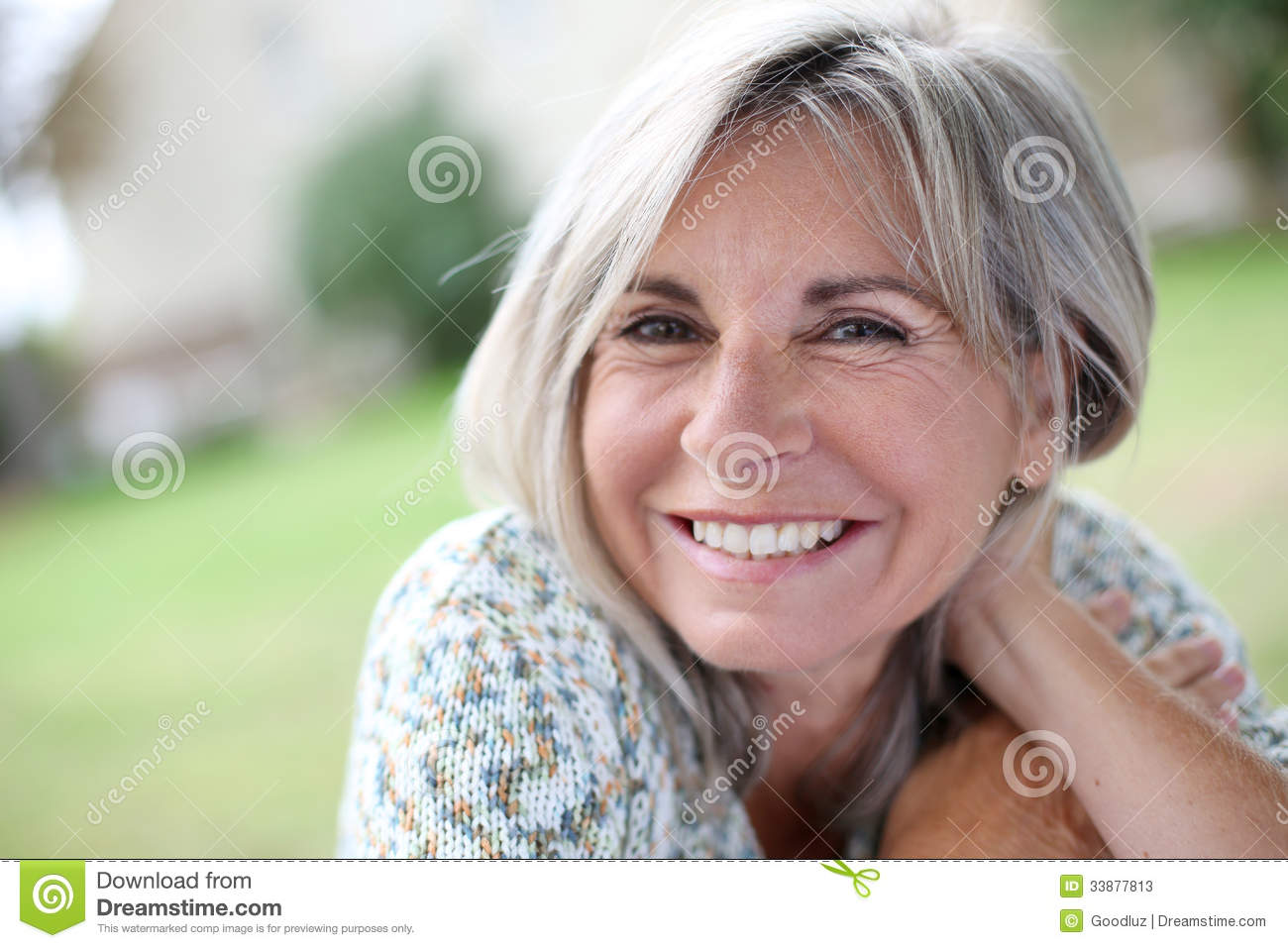 Mature Woman Yoga Upward Warrior Stock Photography