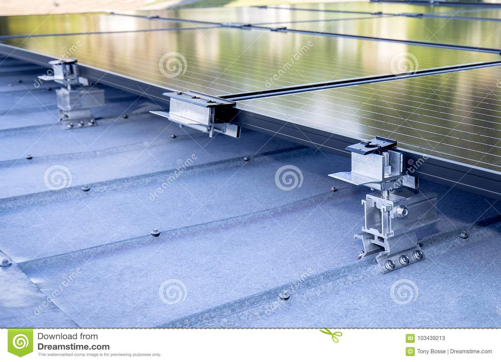 Solar Panel Mountaing Bracket Stock Image - Image of holding