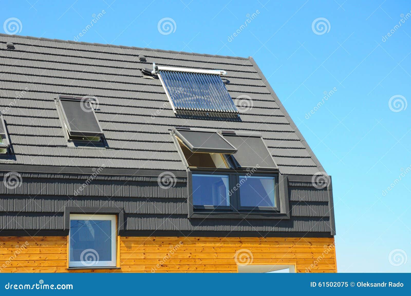 Closeup Of Solar Water Panel Heating Dormers Solar