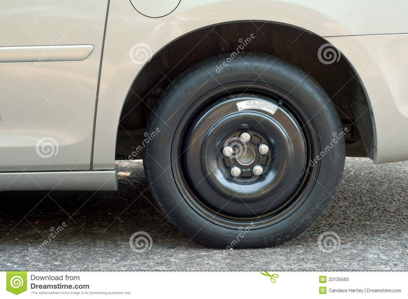 Closeup of a Spare Tire on a Van and room for text