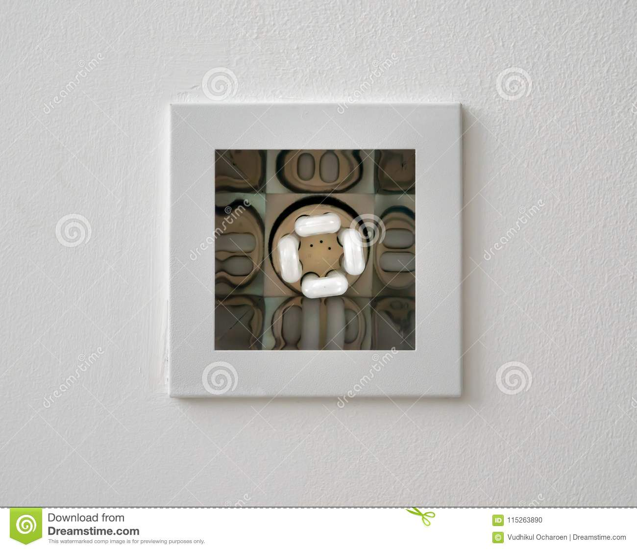 Closeup Of Square Light Recessed Lighting In Ceiling Stock