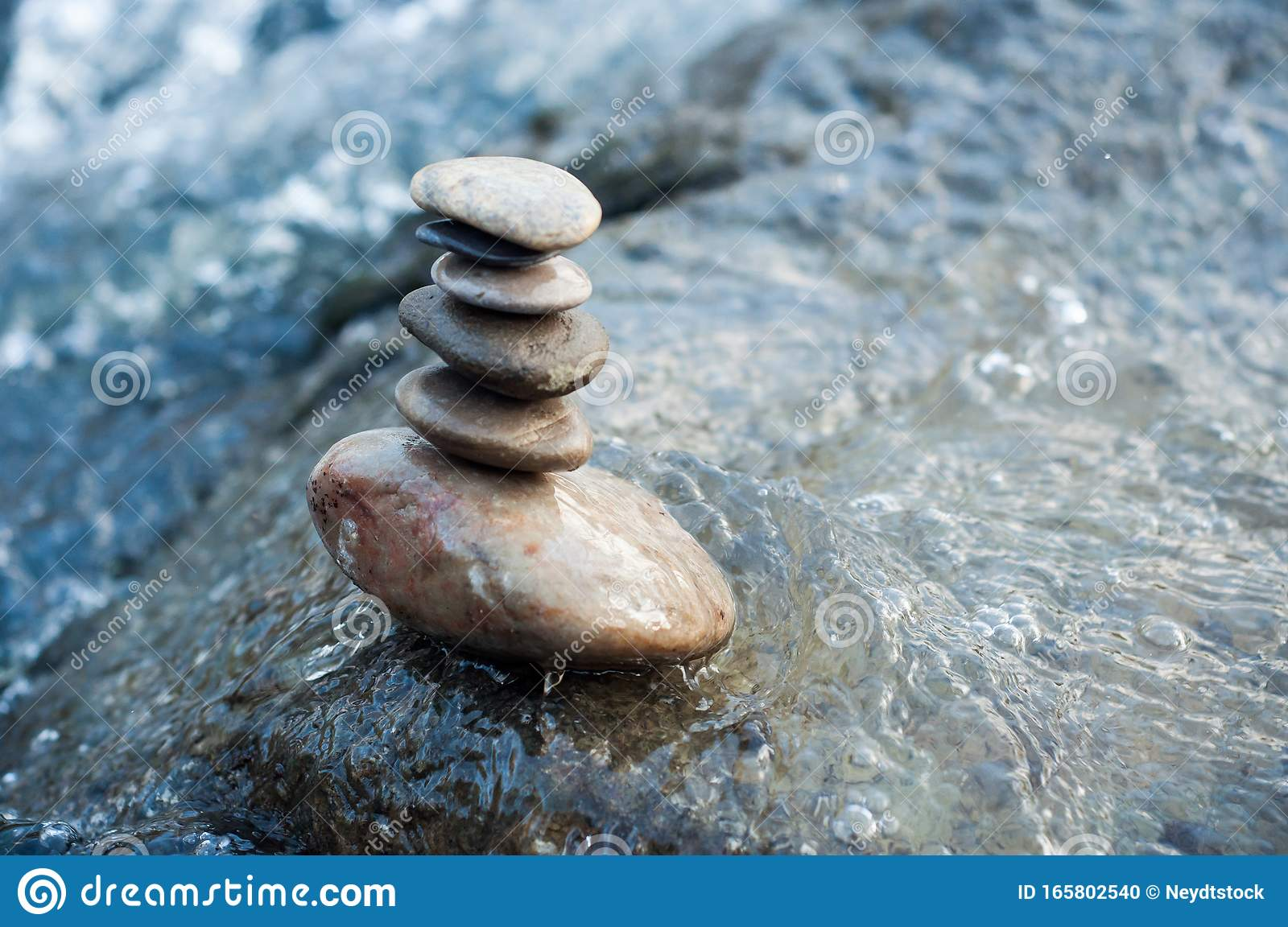 Stone Balance On Rocks In The River Stock Photo Image Of
