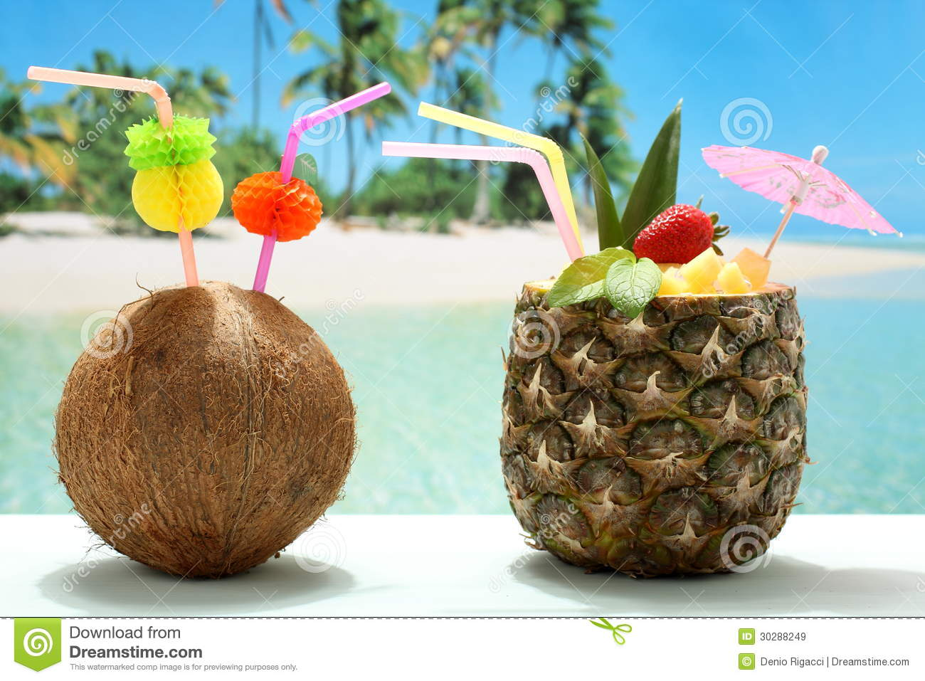 Fruit Cocktails Coconut And Pineapple On The Beach Royalty Free Stock ...