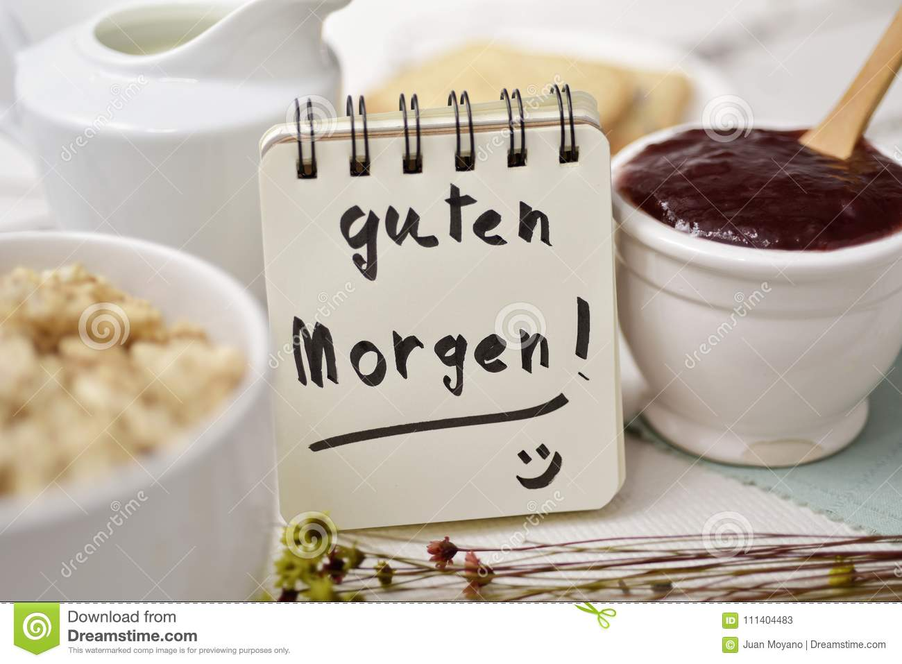 Breakfast And Text Good Morning In German Stock Image