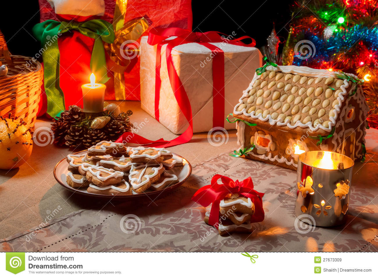Closeup of a table set with christmas gifts royalty free - Table gifts for christmas ...