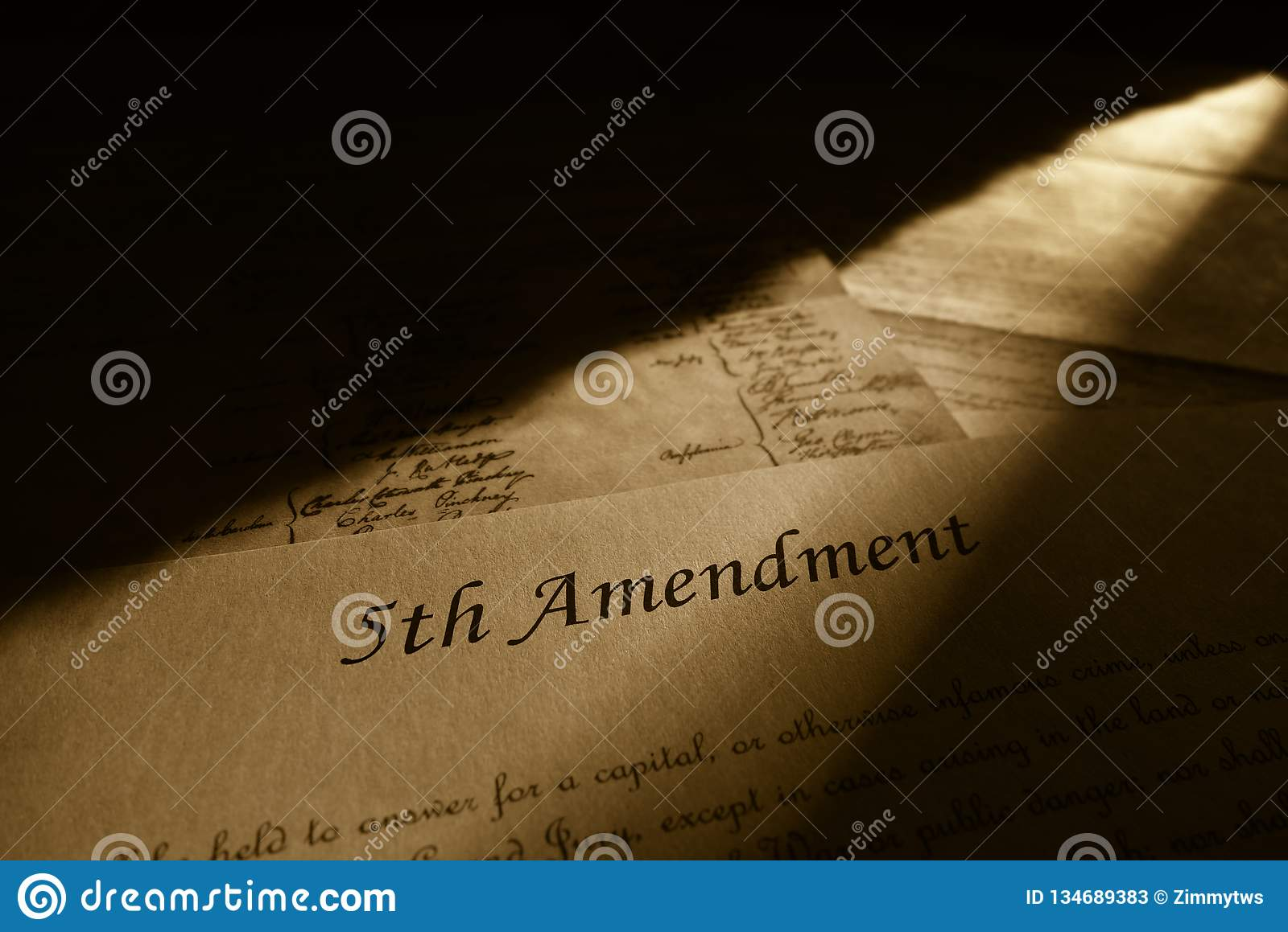 Closeup Of Text From The Fifth Amendment Of The Us Cons Ution