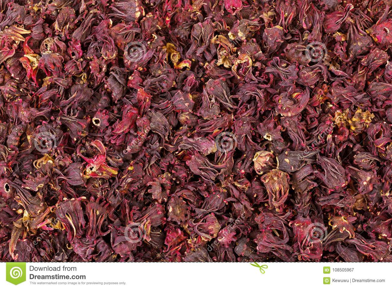 Closeup Texture Of Dried Roselle Hibiscus Flowers In Dark Red Co