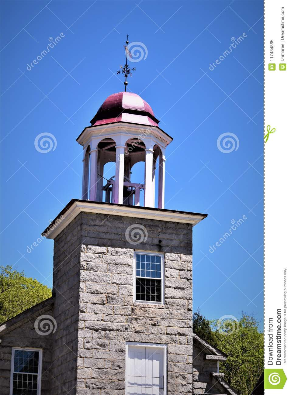 Closeup of 19th century woolen mill cupola. Harrisville, Cheshire County, New Hampshire, United States