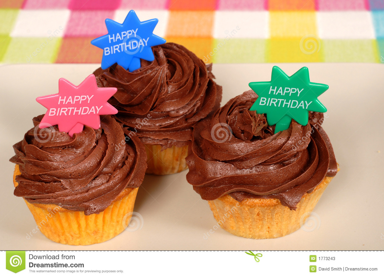 Closeup Of Three Chocolate Frosted Cupcakes With Stock Photos - Image ...