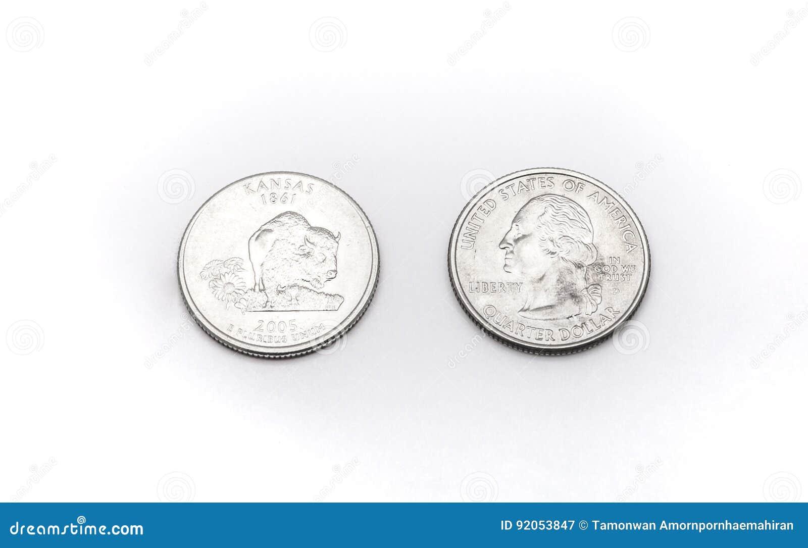 closeup to kansas state symbol on quarter dollar coin on white