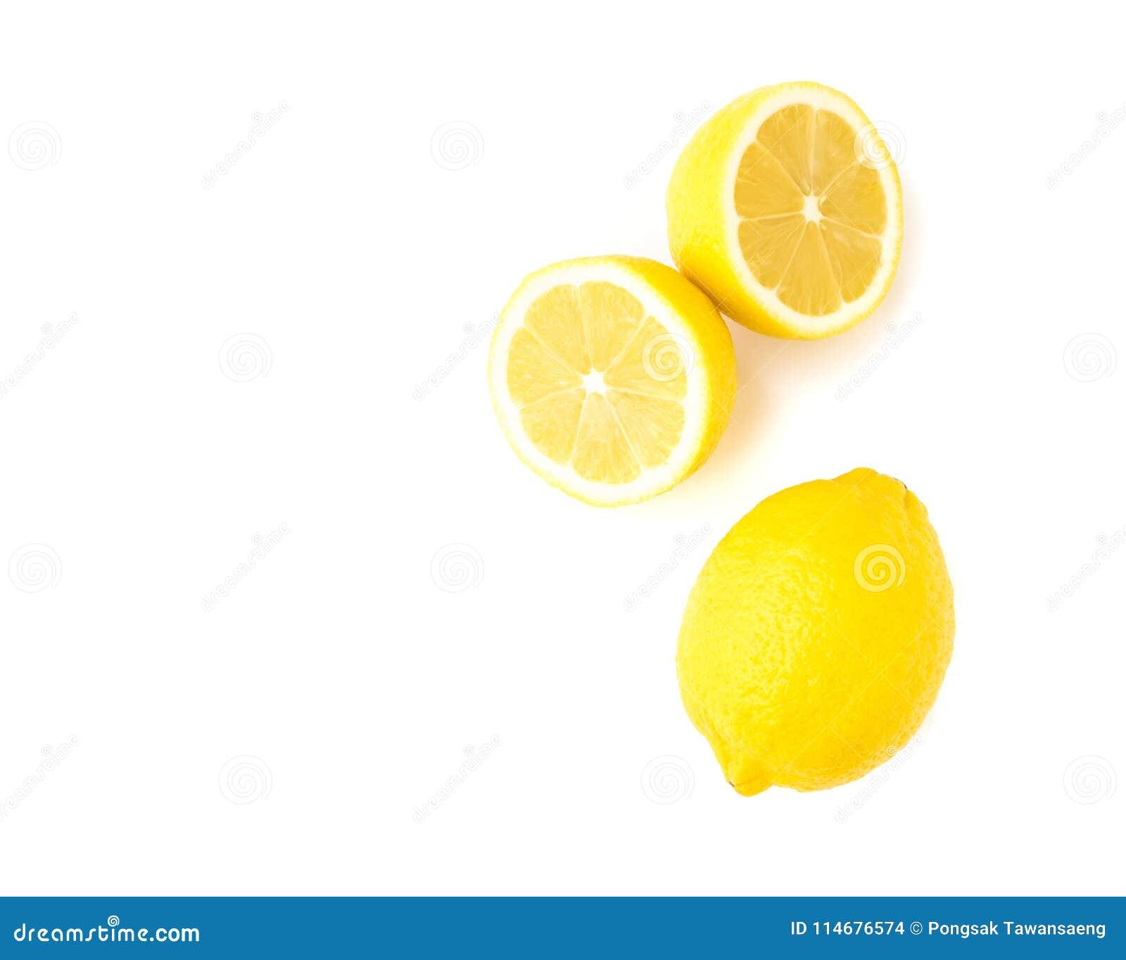 Closeup top view fresh lemon fruit slice on white background