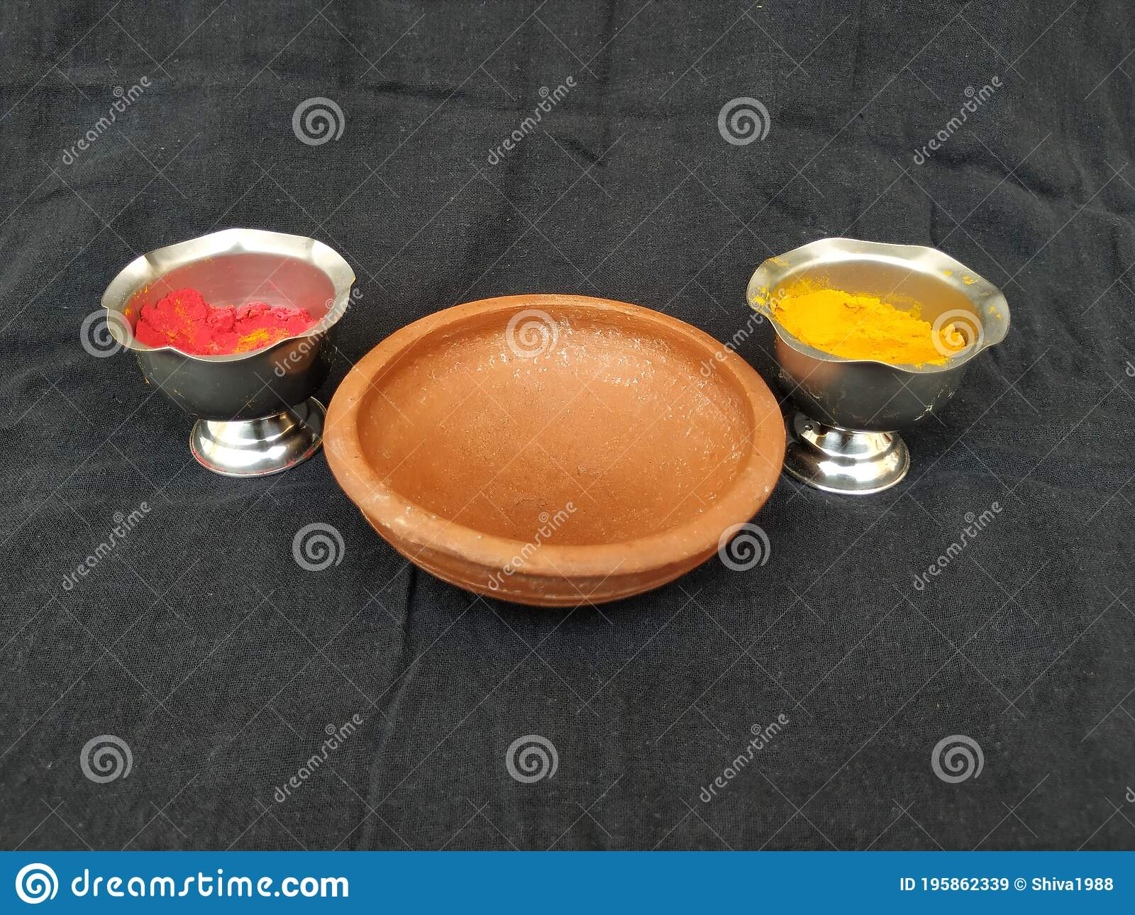 Traditional Man Made Item Sand Saucer Or Bowl Kumkum And Turmeric Powder With Steel Cup Isolated On Black Background Stock Image Image Of Background Cuisine 195862339