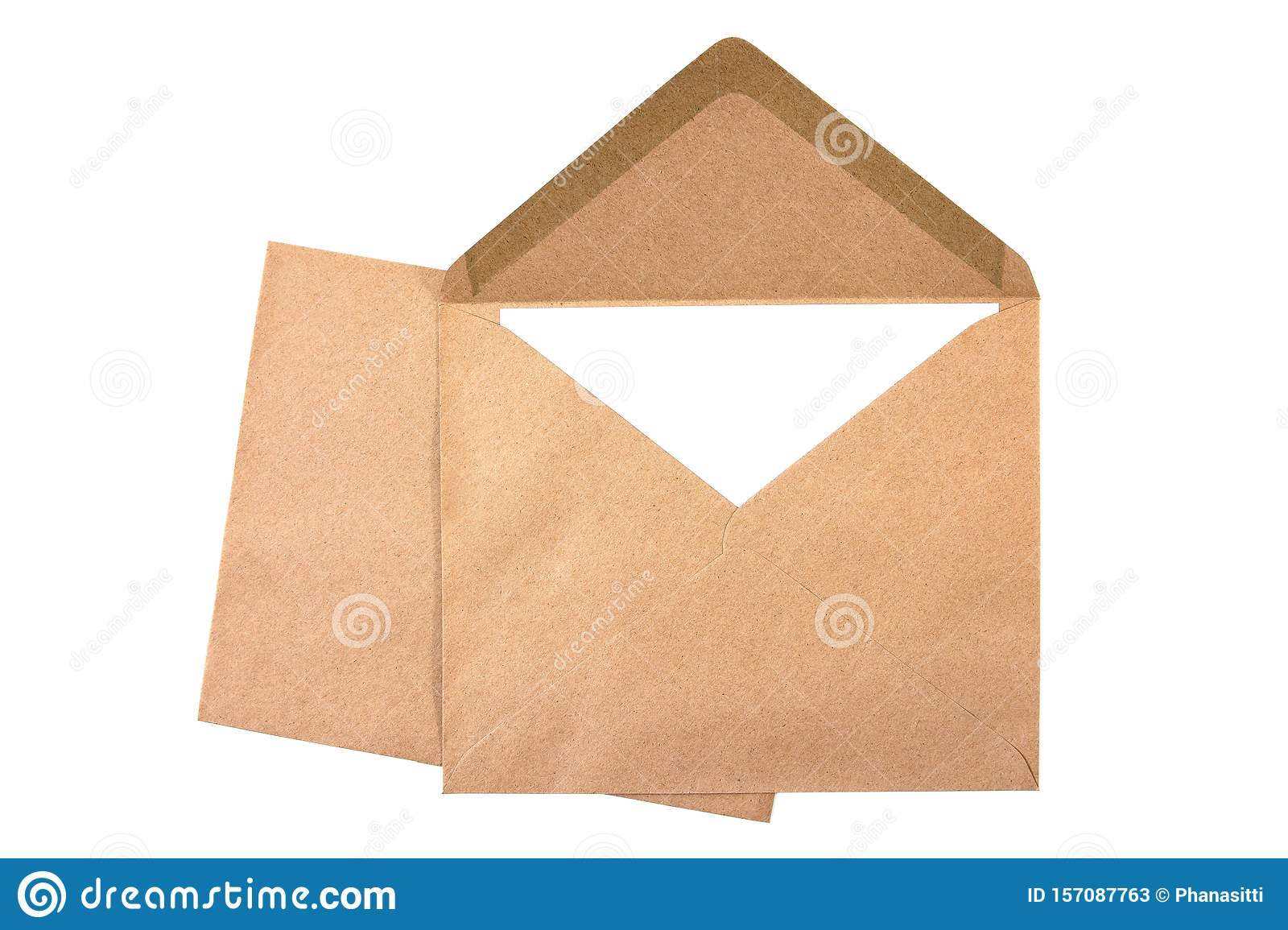 Closeup two brown envelope with white paper isolated on white background