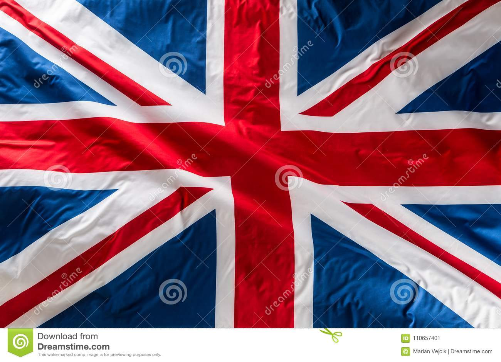 Closeup of Union Jack flag. UK Flag. British Union Jack flag blowing in the wind