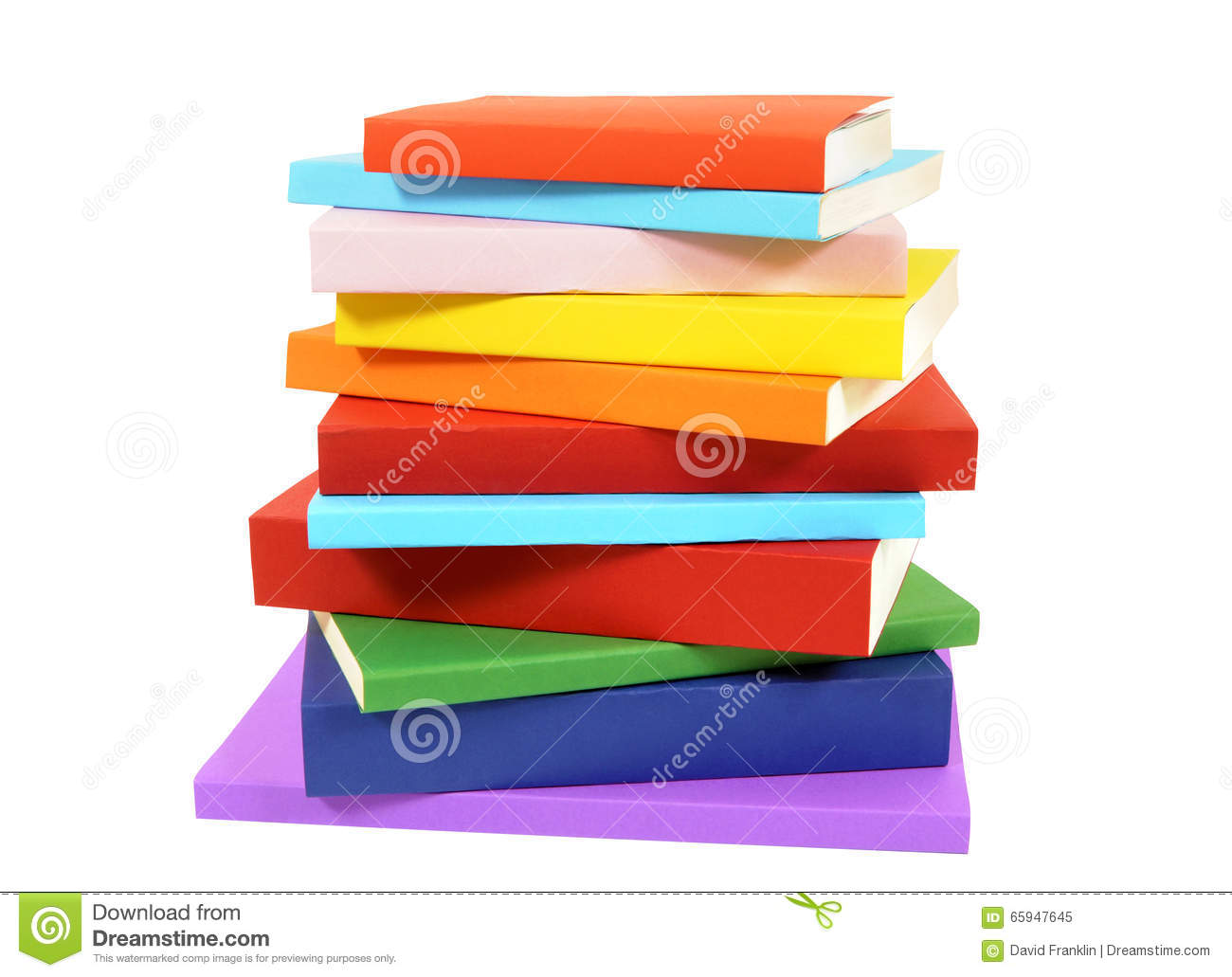 Closeup untidy small pile of books isolated on white background