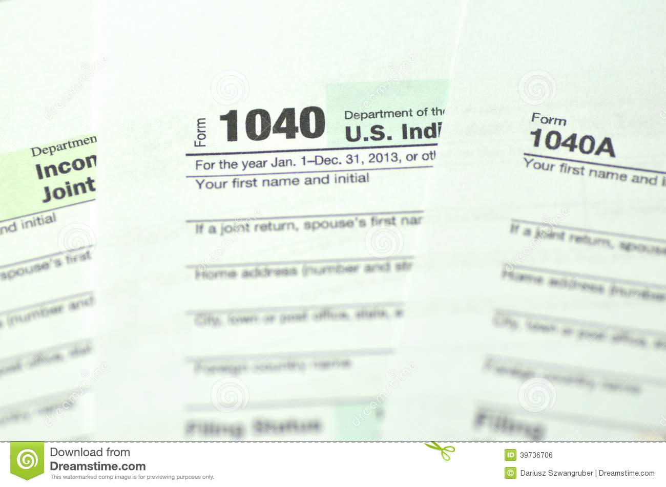 Closeup Of Us Tax Forms Stock Photo Image Of Concept 39736706