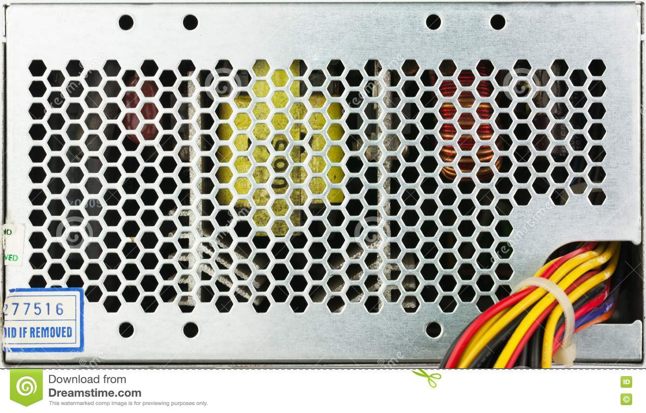Closeup Used Computer Power Supply Grid With Color Wireds Stock ...