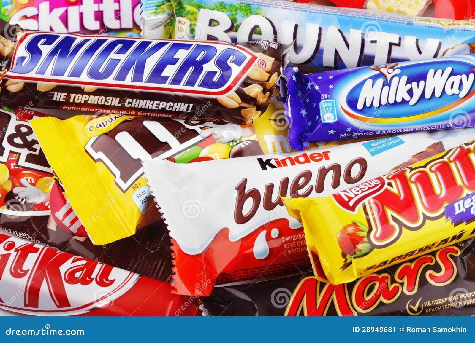 Closeup Of Various Chocolate Bars Editorial Stock Image - Image ...