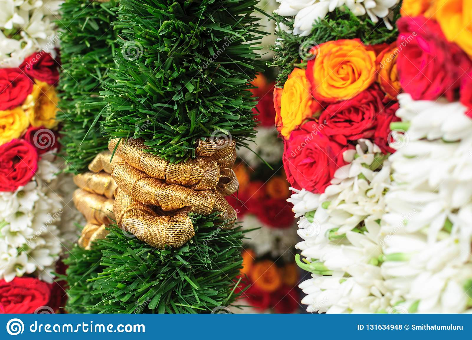 Garlands Of Roses Stock Photo Image Of Leaves Hanging 131634948