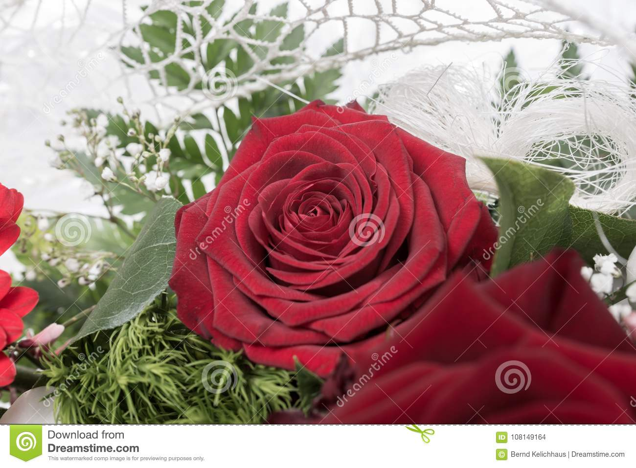 Very Beautiful Bridal Bouquet With Red Roses Stock Photo Image Of