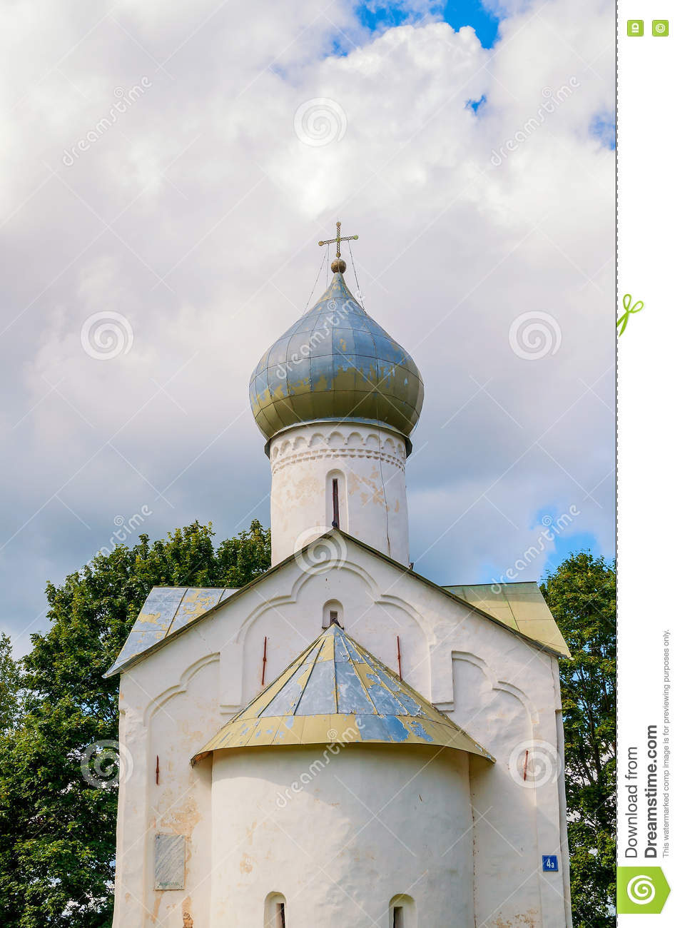 Closeup view of dome of Twelve Apostles on the Abyss church in Veliky Novgorod, Russia.