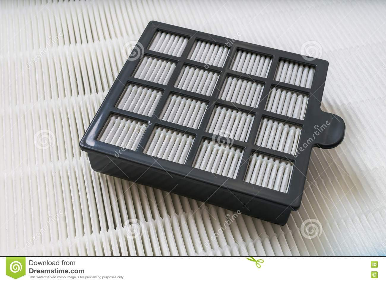 Closeup view on high efficiency particle air filter