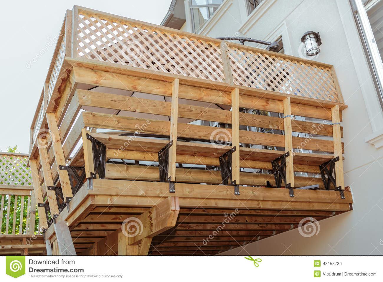 Closeup view of house exterior wooden deck stock photo for Modern view decking