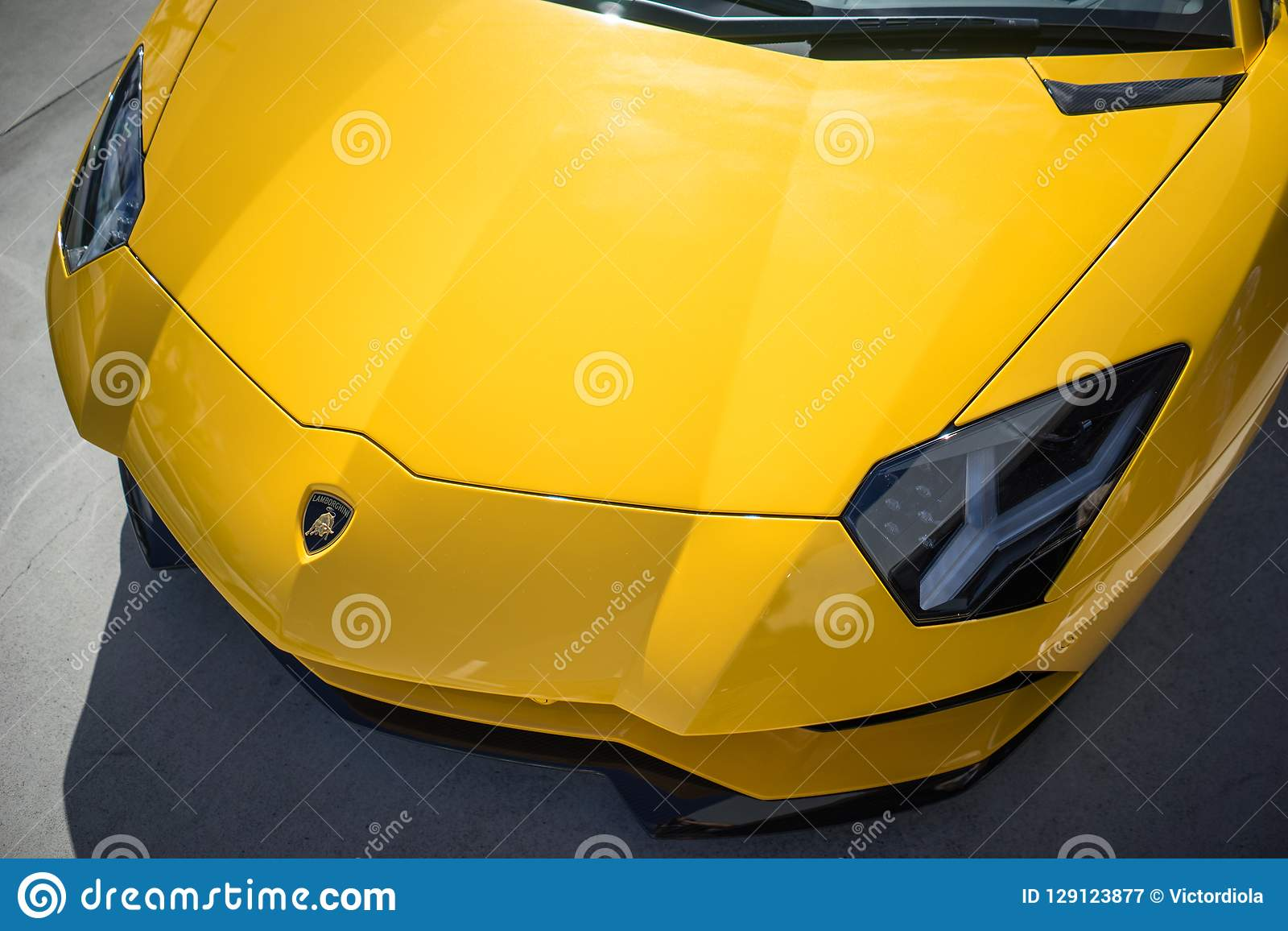 Lamborghini Aventador S Closeup Front Hood Editorial Photography