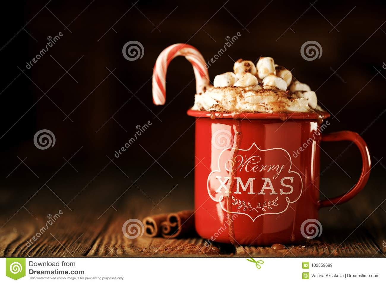 Sweet Christmas Cacao In Mug Stock Image - Image of cocoa, copy ...