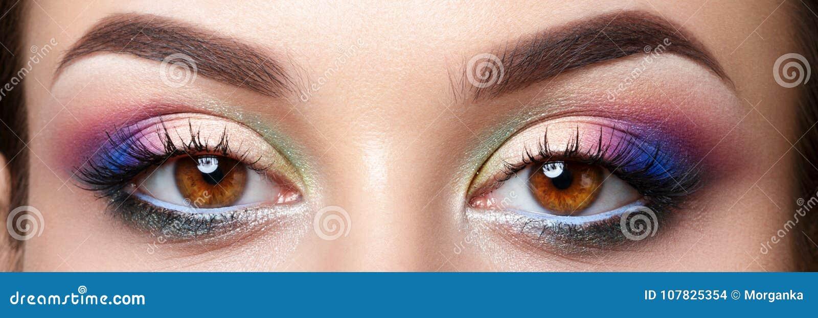 Closeup View Of Woman Eyes With Evening Makeup Stock Photo Image