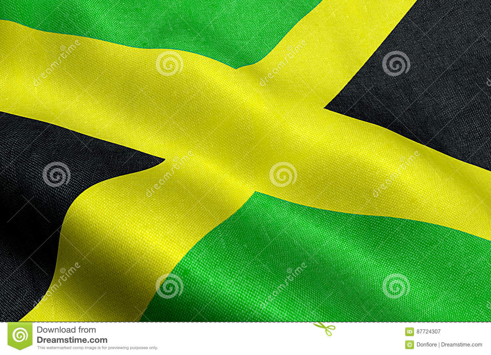 Closeup Of Waving Jamaica Flag Cross Stripes National Symbol Of