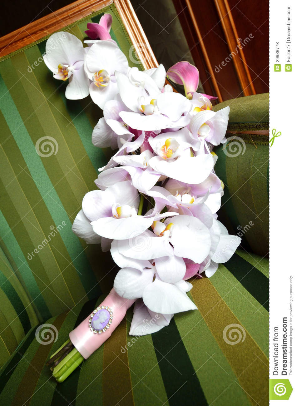 Orchid wedding bouquet stock photo. Image of table, love ...