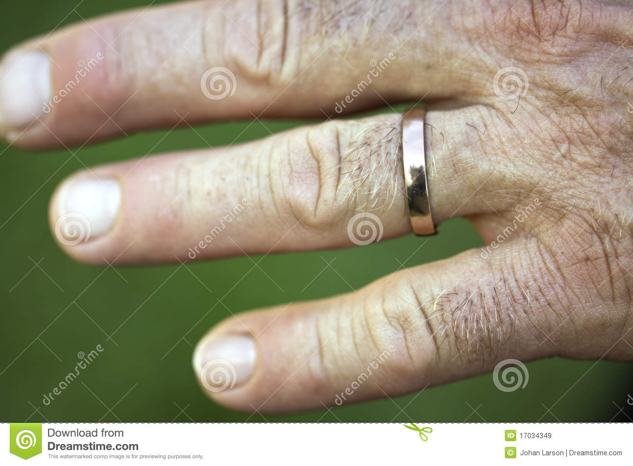 Closeup Of A Wedding Ring On A Man S Hand Stock Image Image Of